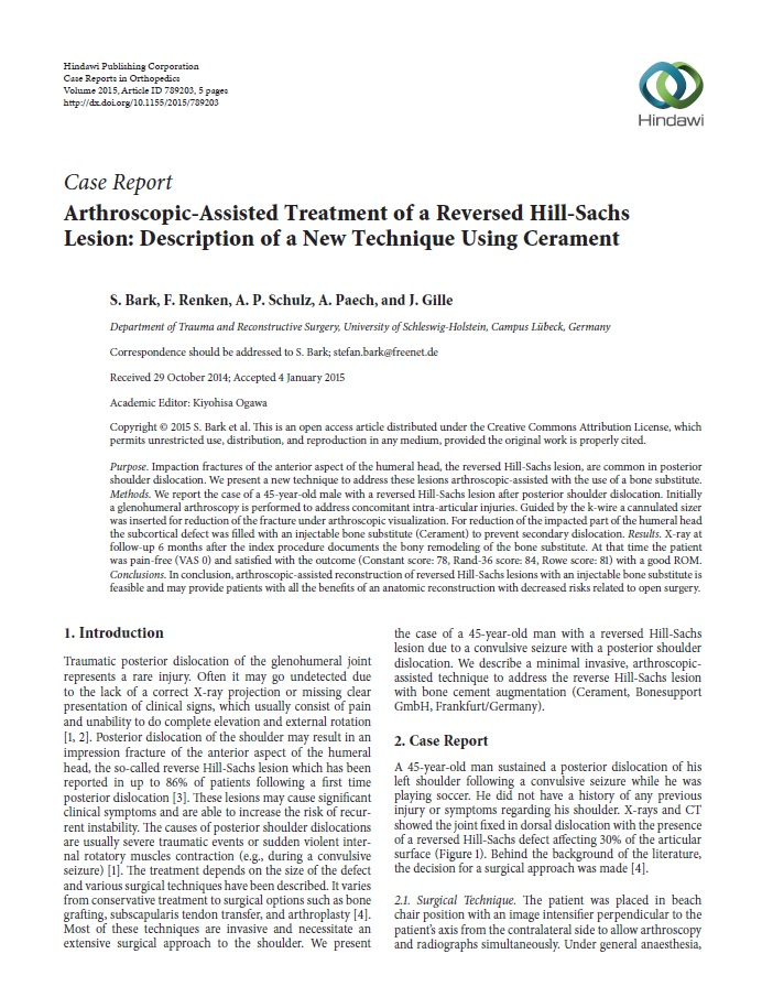 Arthroscopic-assisted treatment of a reversed Hill-Sachs lesion: description of a new technique using CERAMENT®