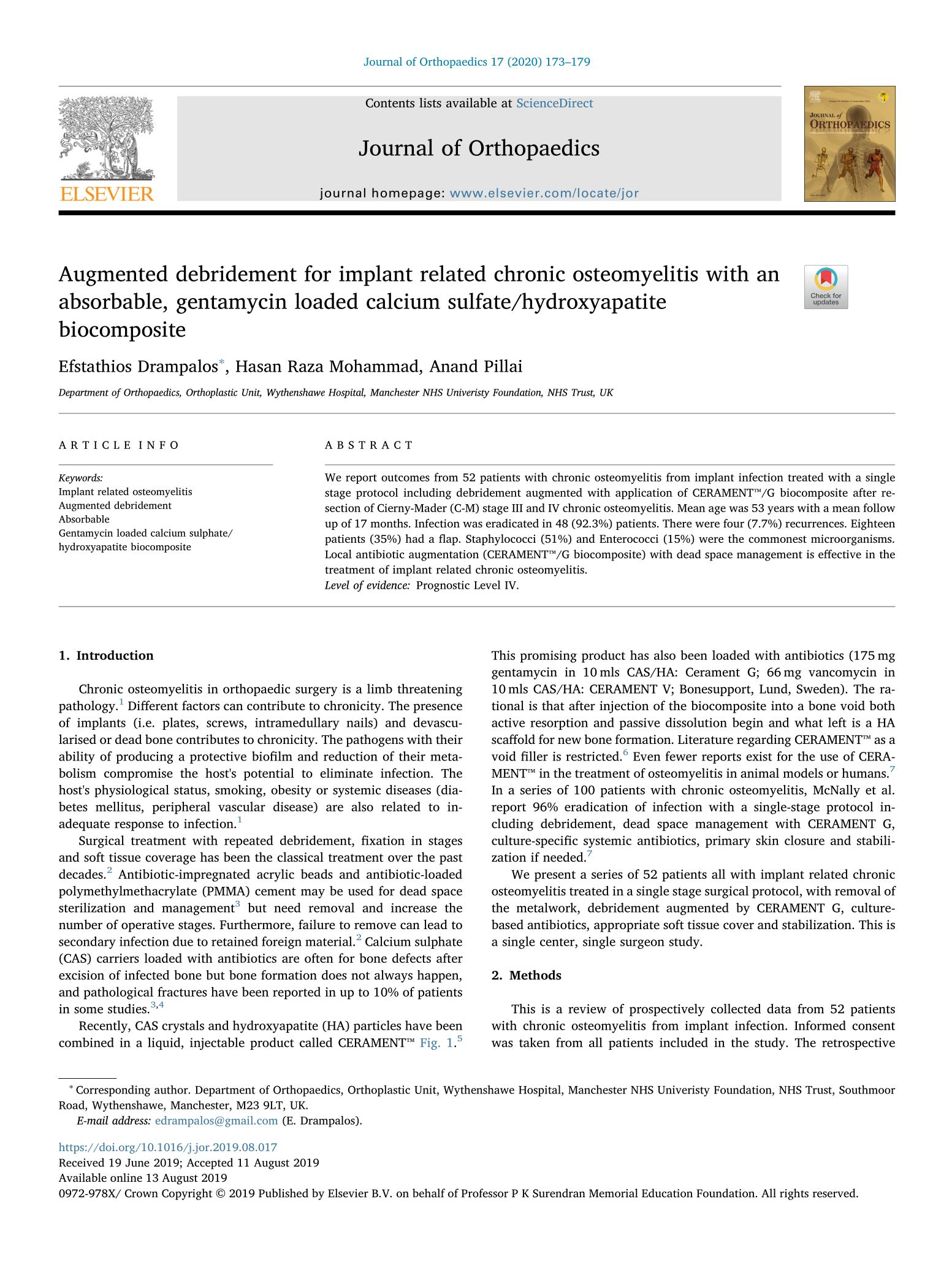 Augmented debridement for implant related chronic osteomyelitis with an absorbable, gentamycin loaded calcium sulfate/hydroxyapatite biocomposite