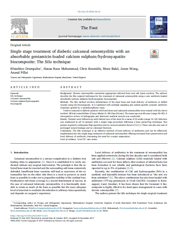 Single stage treatment of diabetic calcaneal osteomyelitis with an absorbable gentamicin-loaded calcium sulphate/hydroxyapatite biocomposite: The Silo technique