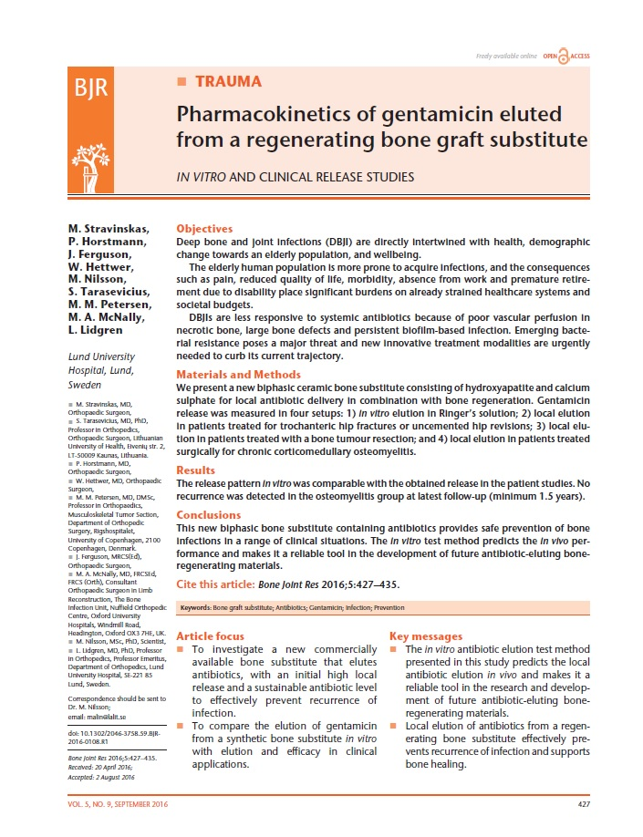 Pharmacokinetics of gentamicin eluted from a regenerating bone graft substitute