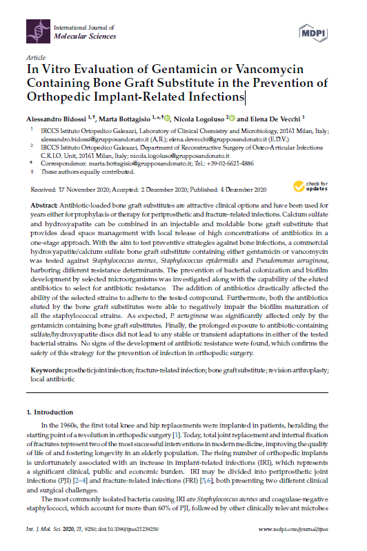 Bidossi – In Vitro Evaluation of Gentamicin or Vancomycin Containing Bone Graft Substitute in the Prevention of Orthopedic Implant-Related Infections