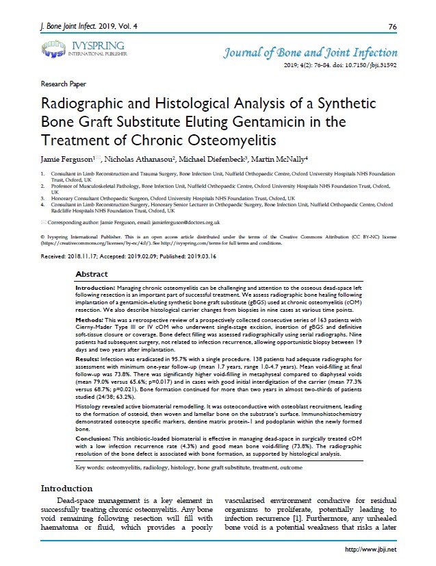 Ferguson Radiographic and histological analysis of a synthetic bone graft substitute eluting gentamicin in the treatment of chronic osteomyelitis