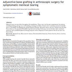 Cover image of clinical report: Adjunctive bone grafting in arthroscopic surgery for symptomatic meniscal tearing